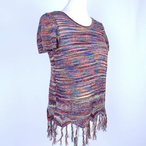 Loose Knit Short Sleeve Sweater with Fringe Small